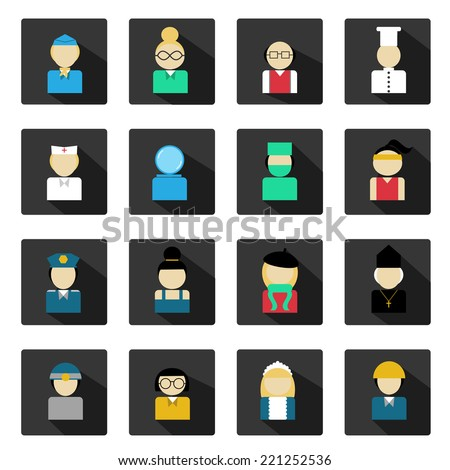 Set of flat with people professions