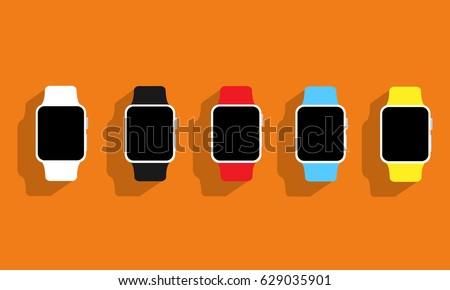 Set of flat wrist watches Apple watch on orange background. Vector illustration