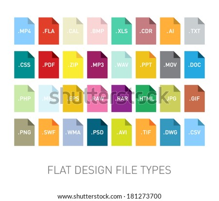 Set of flie type flat icons for smartphones, tablets, devices, user interface, applications. Clean and modern style design