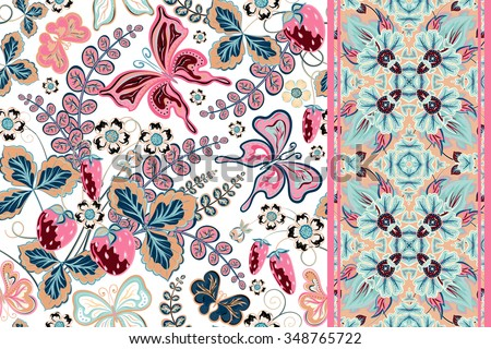 set of floral background with