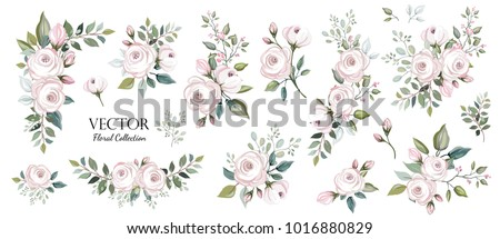 Set of floral branch. Flower pink rose, green leaves. Wedding concept. Floral poster, invite. Vector arrangements for greeting card or invitation design background #1016880829
