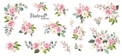 Set of floral branch. Flower pink rose, green leaves. Wedding concept with flowers. Floral poster, invite. Vector arrangements for greeting card or invitation design