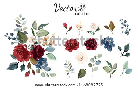Set of floral branch. Flower red, burgundy, navy blue rose, green leaves. Wedding concept with flowers. Floral poster, invite. Vector arrangements for greeting card or invitation design
