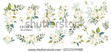 Set of floral branch. Flower white rose, green leaves. Wedding concept. Floral poster, invite. Vector arrangements for greeting card or invitation design background #1012559488
