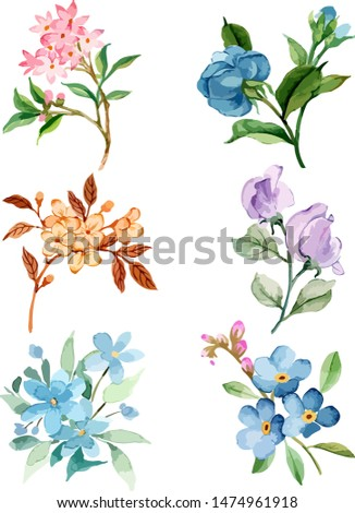 Set of floral branch.  green leaves. Wedding concept with flowers. Floral poster, invite. Vector arrangements for greeting card or invitation design