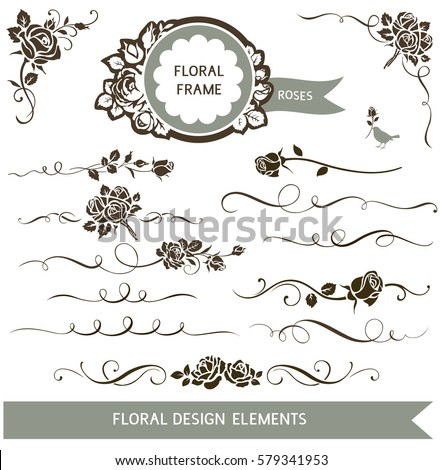 Set of floral calligraphic design elements. Decorative rose silhouette and wedding invitation  calligraphy design elements