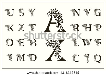 Set of Floral Capital Letters. Vintage Logos. Filigree Monograms. Beautiful Collection. English Alphabet. Simple Drawn Emblems. Graceful Style. Design of Calligraphic Insignia. Vector Illustration
