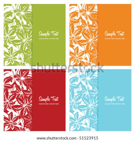 set of floral card backgrounds, vector illustration