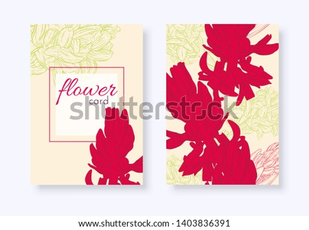 Set of floral cards. Plant in blossom, branch with flower ink sketch. Hyacinth. Fashion floral print for a banner, wrapping, notebook, invitation. Vector illustration for your template design #1403836391