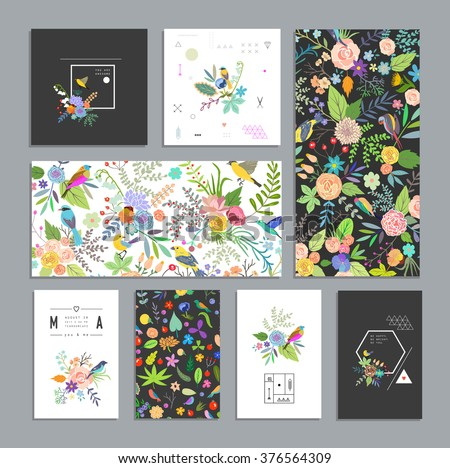 Set of floral cards. Wedding, anniversary, birthday, Valentine's day, party. Design for banner, poster, card, invitation, placard, brochure, flyer. Vector. Isolated.