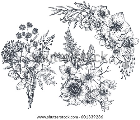 Set of Floral compositions. Bouquets with hand drawn flowers and plants. Monochrome vector illustrations in sketch style. #601339286