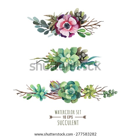 set of floral compositions in
