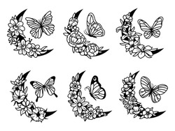 Set of floral crescent moon with butterfly. Collection of silhouettes decorative beautiful flower arrangements with insects. Botany. Vector illustration for trendy t-shirt design.Tattoo.