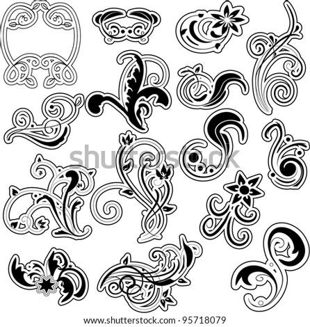 Set Of Floral Decoration Design Elements,Vector - 95718079