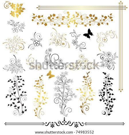 Set of floral design elements. Vector.