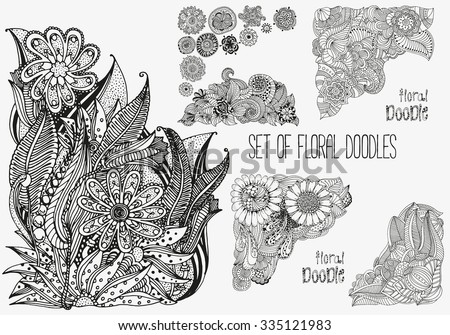 set of floral doodles black
