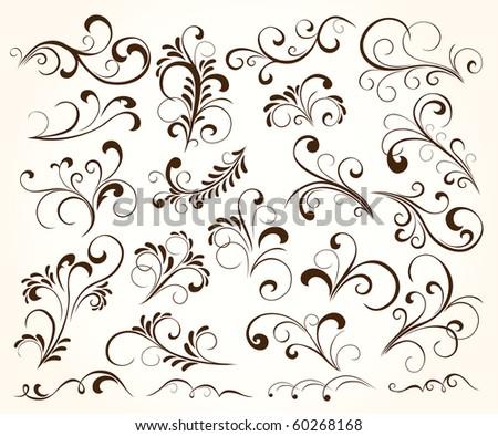 Set of floral elements for decor, Illustration
