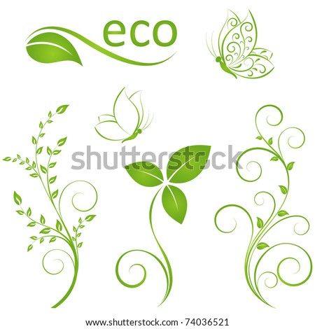 Stock Photo Set of floral elements for design