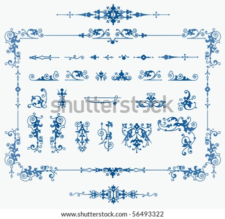 stock vector set of floral elements for design creating borders frames