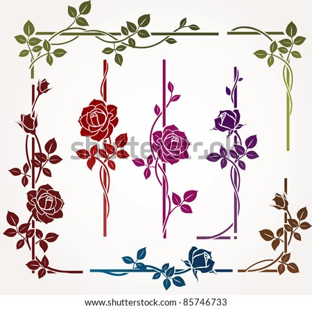Set of floral elements for frames