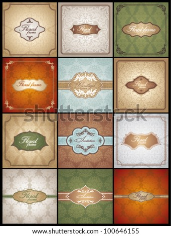 Set of Floral Frames (eps 8, with gradient) - stock vector