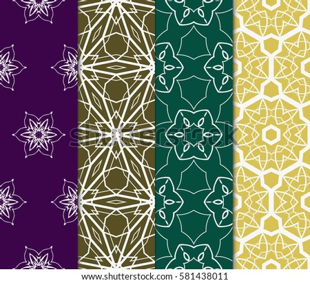 set of floral, geometric seamless pattern. line art. vector. for design, wallpaper, textile, fabric, invitation #581438011