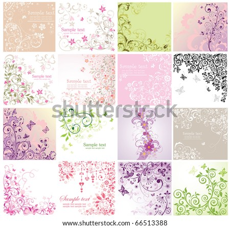 Set of floral greeting cards - stock vector