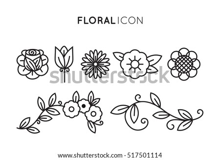 Set of floral icon in flat design. Thin line style #517501114