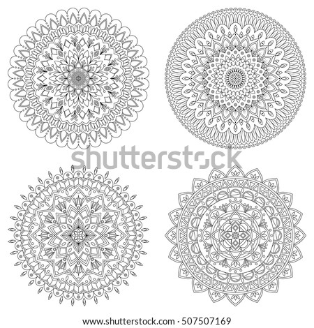 Set of floral mandalas, vector illustration