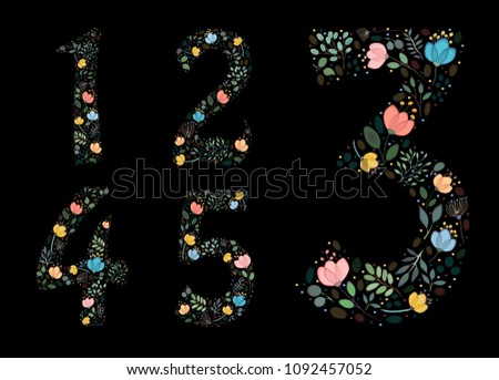 set of floral numerals