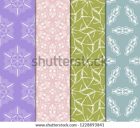 Set Of Floral Ornament. Seamless Vector Pattern. Interior Decoration, Wallpaper, Invitation, Fashion Design #1228893841