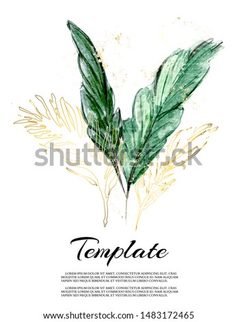 Set of floral palm leaves and gol foil elements. Flower jungle and green leaves. Wedding template. Floral poster, invite. Vector arrangements for greeting card or invitation design