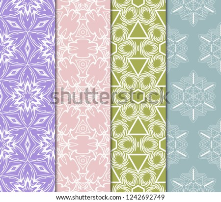 Set Of Floral Pattern. Seamless Ornament. Arabesque. Vector Illustration. Purple Color. For Design, Invitation Wedding, Valentine's, Background, Wallpaper. #1242692749