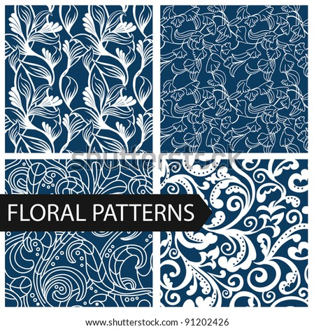 set of floral seamless patterns - vector illustration