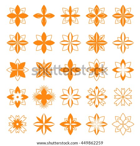 set of floral symbols for