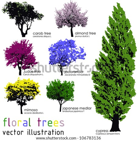 Set of floral trees silhouettes. Vector illustration