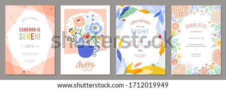 Set of floral universal artistic templates. Good for birthday, bridal and baby shower. Vector illustration.