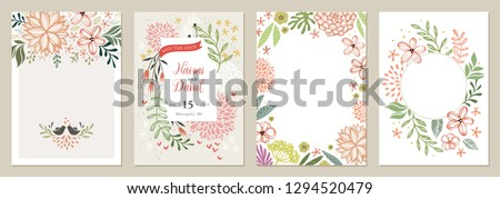 Set of floral universal artistic templates. Good for greeting cards, invitations, flyers and other graphic design. Vector illustration.