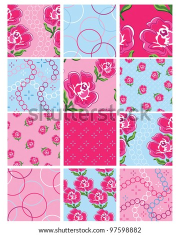 Set of 12 Floral Vector Seamless Patterns.  Great to print onto fabric for patchwork quilting or for use as digital paper. - stock vector