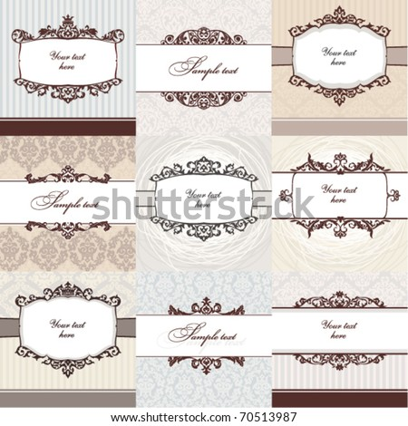Set of floral vintage frame. Great for greeting cards and invitations.