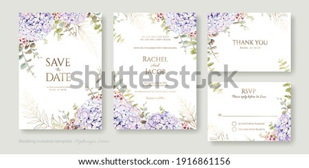 Set of floral wedding Invitation card, save the date, thank you, rsvp template. Hydrangea flower with greenery.
