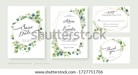 Set of floral wedding Invitation card, save the date, thank you, rsvp template. Vector. Greenery, leaves.