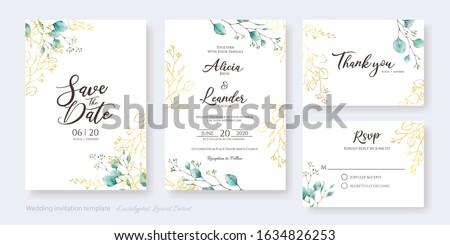 Set of floral wedding Invitation card, save the date, thank you, rsvp template. Vector. Water color and golden silver dollar leaves. Stock foto ©
