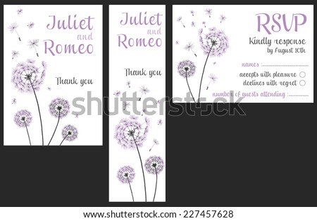 Set Of Floral Wedding Invitation Template Purple Dandelion Flower