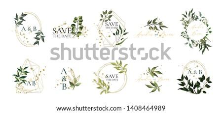 Set of floral wedding logos and monogram with elegant green leaves golden geometric triangular frame for invitation save the date card design. Botanical vector illustration
