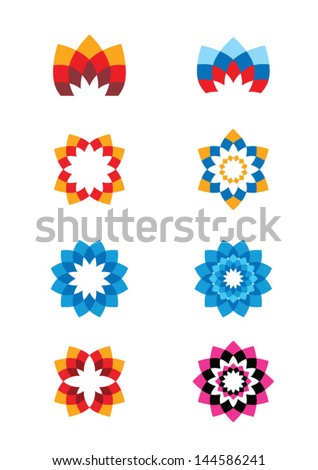 set of flower abstract logos