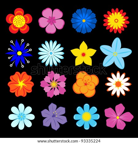 Set of flower blossoms and elements for design and decoration. Jpeg version also available in gallery