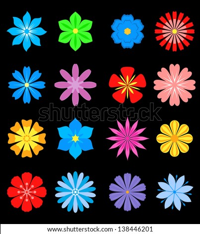 set of flower blossoms isolated