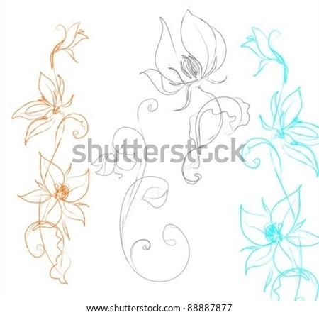 Set of flower design - stock vector