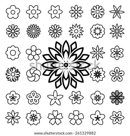 set of flower line icons